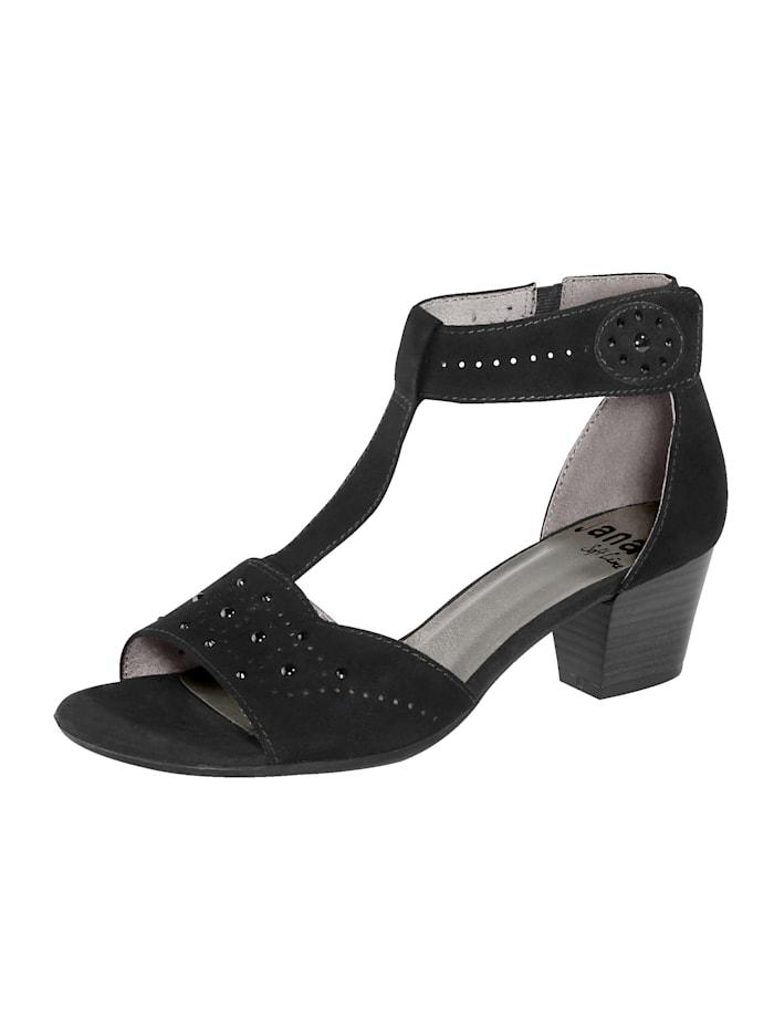 Softline Sandale mit Klettverschluss an der Fessel, Schwarz