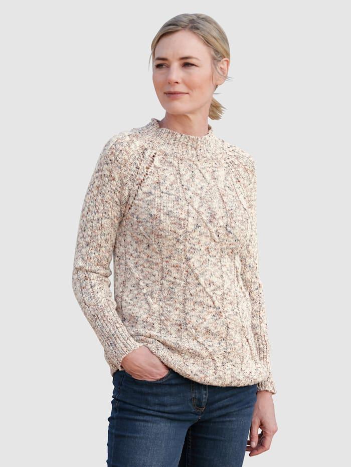 Dress In Pullover mit Zopfmuster im Vorderteil, Off-white