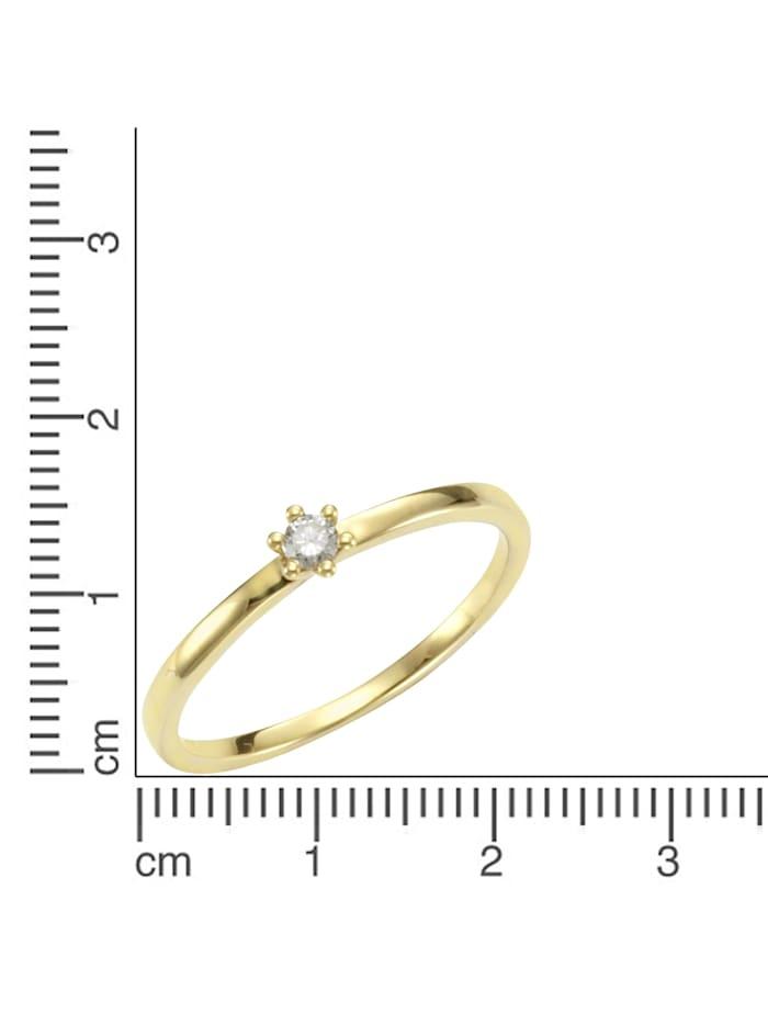 Ring 585/- Gold Brillant weiß Brillant Glänzend 0,07ct. 585/- Gold