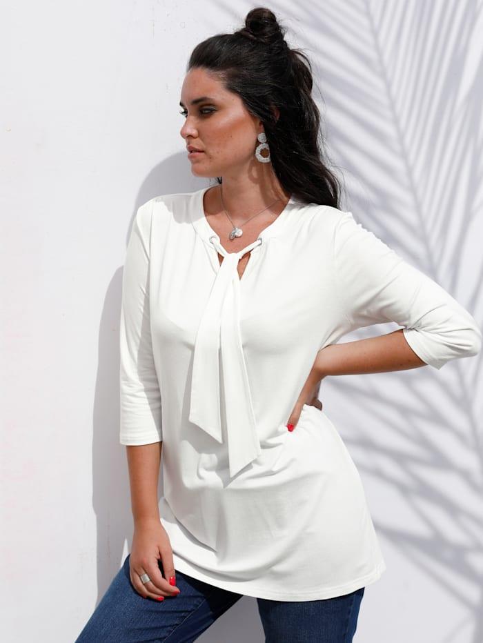 MIAMODA Shirt mit Bindeband am Ausschnitt, Weiß