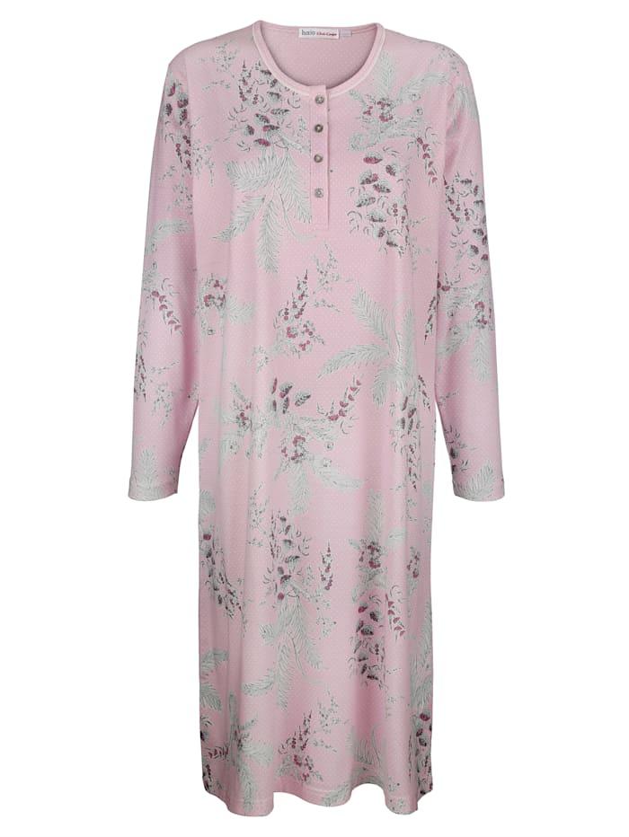 Hajo Nachthemd met fraai stippen- en bloemendessin, Roze/Ecru/Grijs