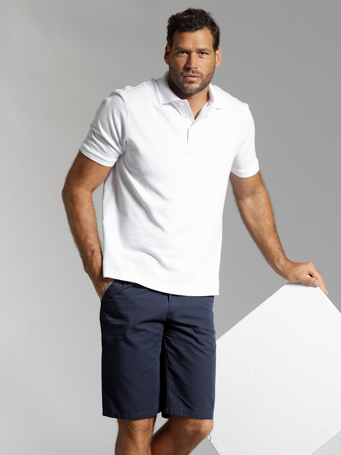 Men Plus Poloshirt, Wit