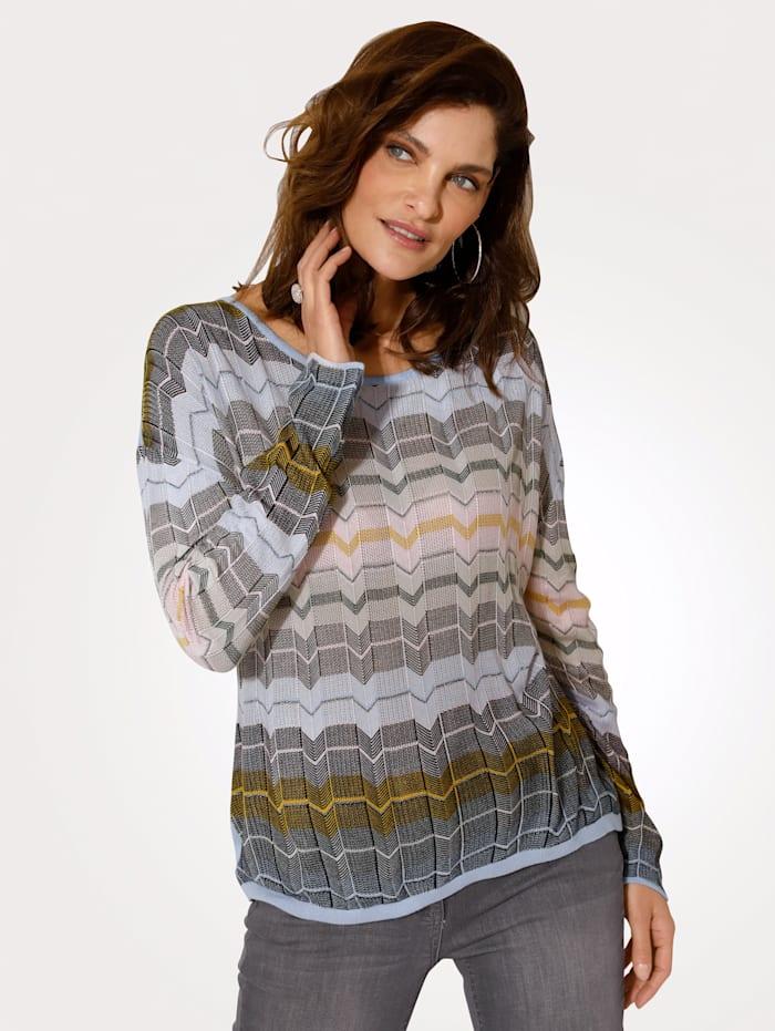 MONA Pullover mit feinem Strukturstrick, Hellblau/Rosé/Beige