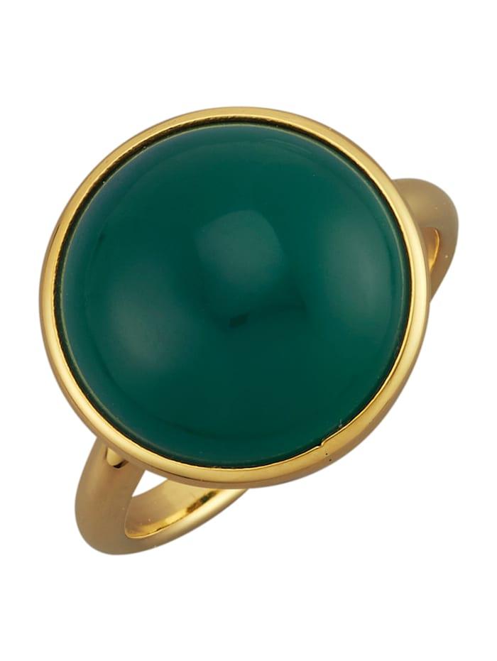 Diemer Farbstein Damenring mit Achat-Cabochon, Grün
