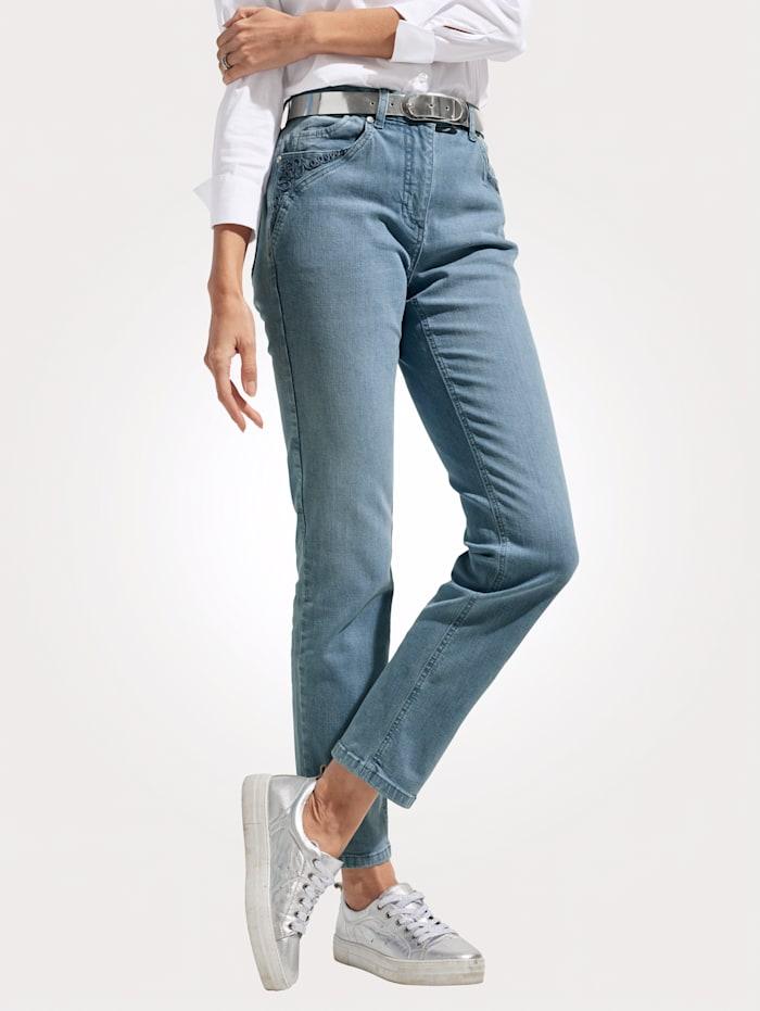 MONA Jeans mit Kordeldekoration, Hellblau