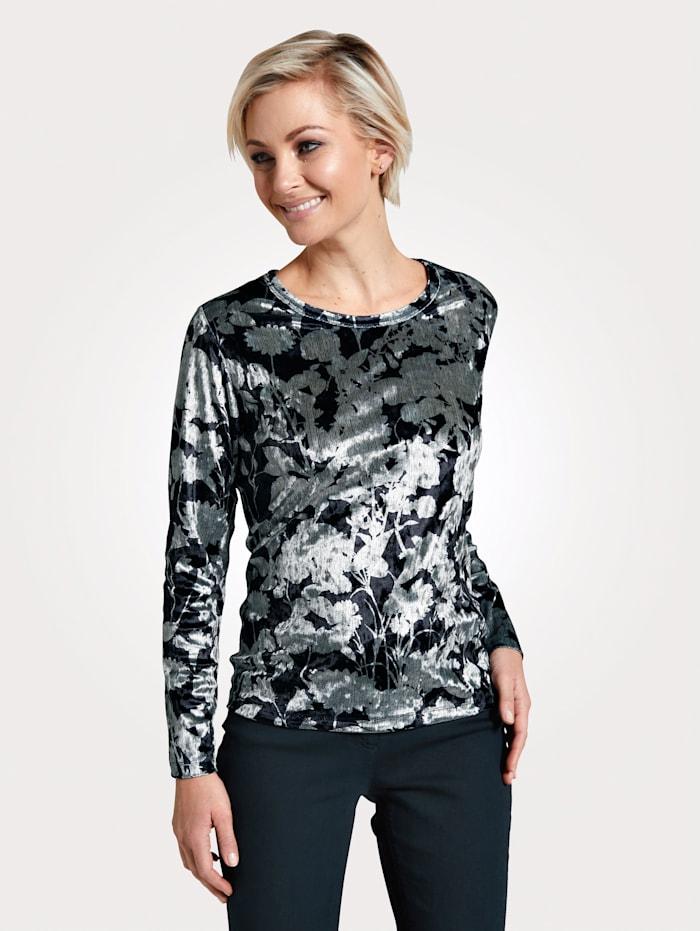 MONA Shirt aus feiner Samt-Qualität, Anthrazit/Mintgrün
