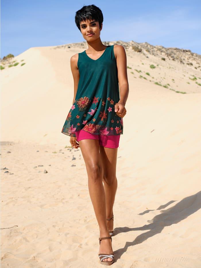 Alba Moda Strandshirt im Layerlook, Petrol