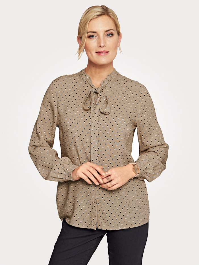 MONA Blouse with a feminine tie neck, Beige/Ivory