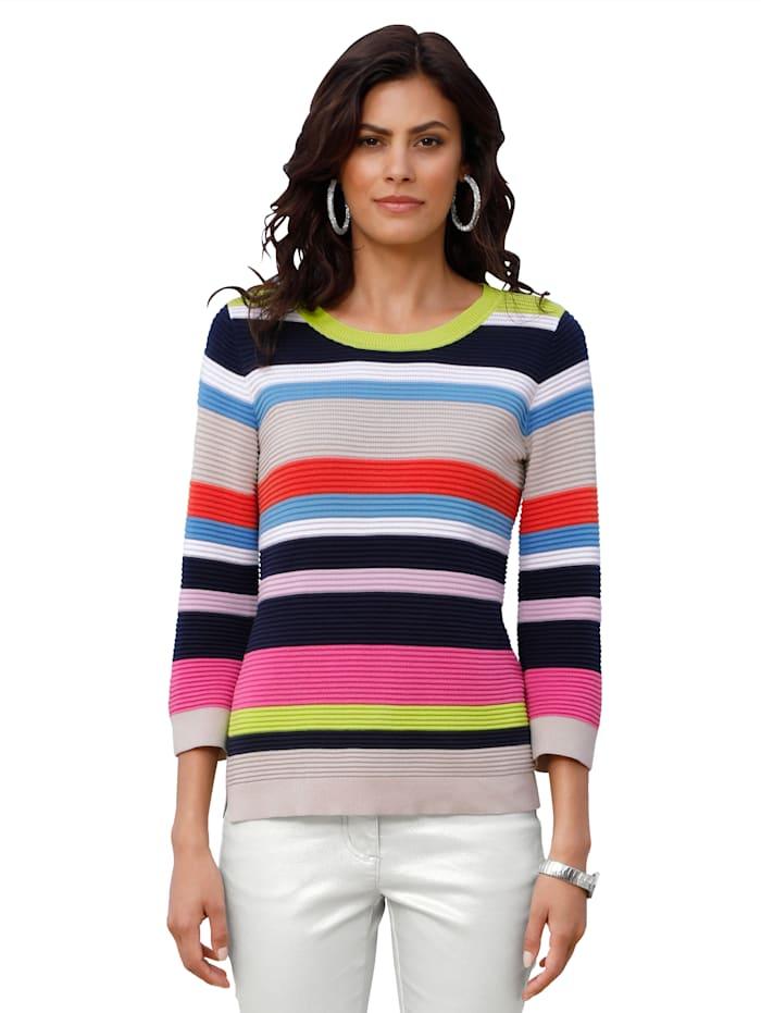 AMY VERMONT Pullover in Streifen-Optik, Marineblau/Beige/Weiß/Hellgrün/Pink