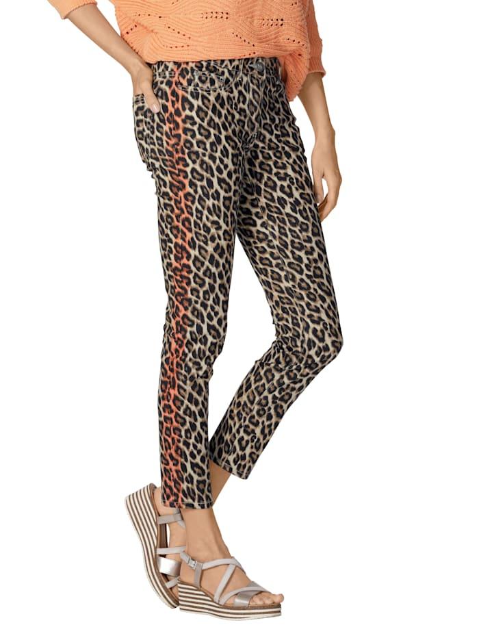 AMY VERMONT Jeans im Leoparden-Dessin allover, Beige/Braun/Orange
