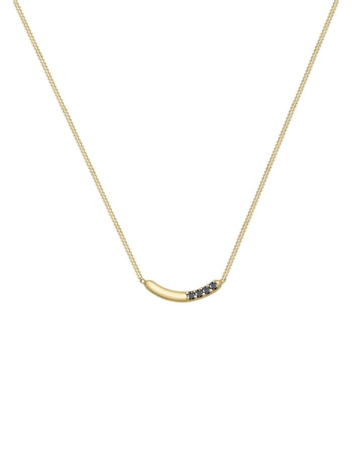 Halskette Bogen Geo Schwarzer Diamant (0.06Ct.) 375 Gelbgold