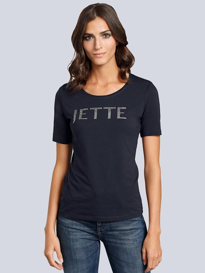 JETTE JOOP T-shirt met tekstlogo van strassteentjes, Marine