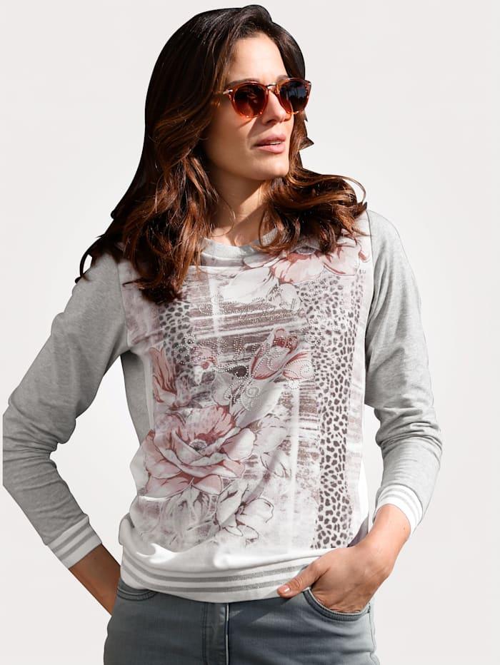 MONA Shirt mit charmantem Floraldruck, Grau/Ecru/Rosé