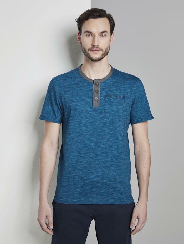 Tom Tailor Gestreiftes Henley-T-Shirt mit Brusttasche, navy turquoise fine stripe