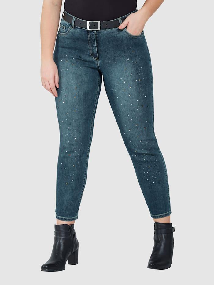 Sara Lindholm Jeans mit Strasssteinen, Blue stone