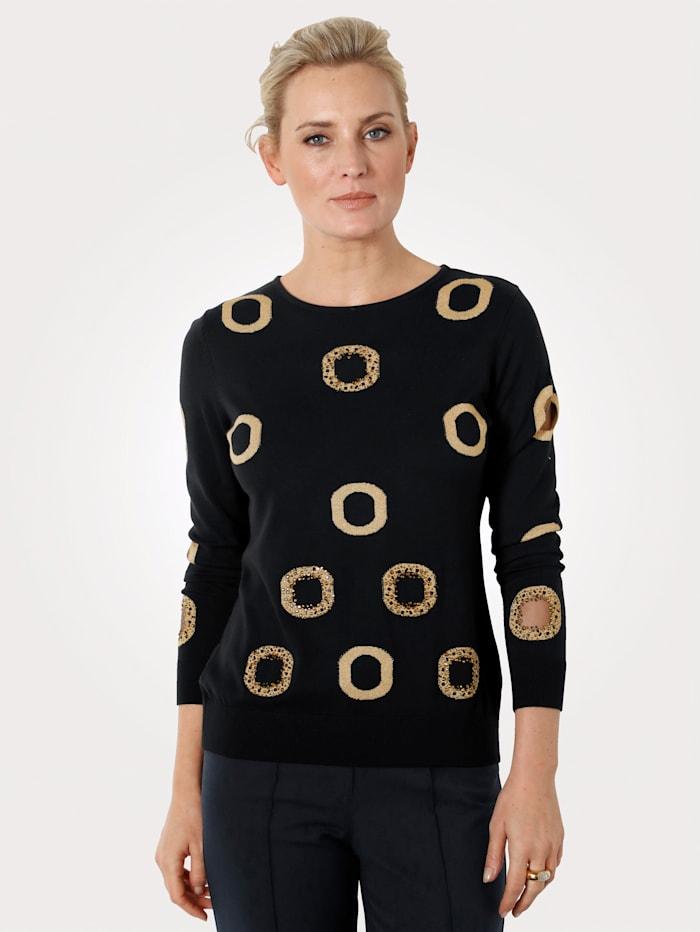 Pullover mit Intarsien und Strass-Steinen