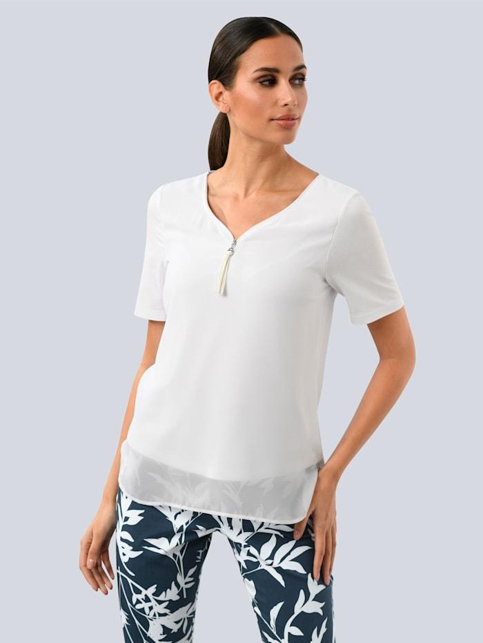 Alba Moda Bluse aus fließender Ware, Weiß
