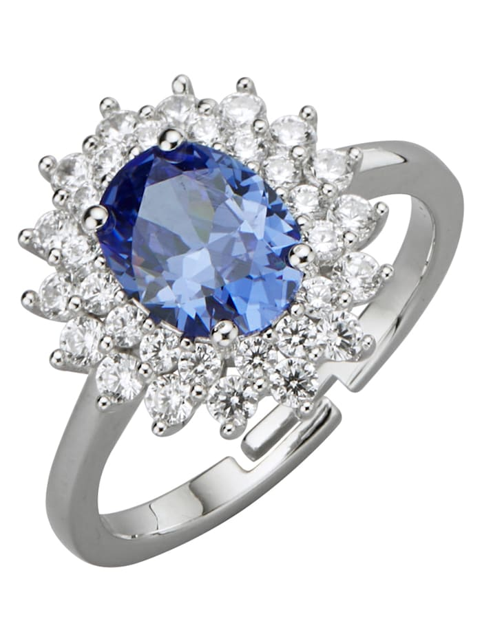 Damenring mit Zirkonia, Blau