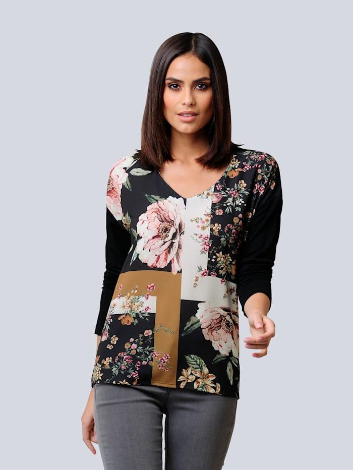 Alba Moda Shirt mit floralem Print, Marineblau/Cognac/Off-white