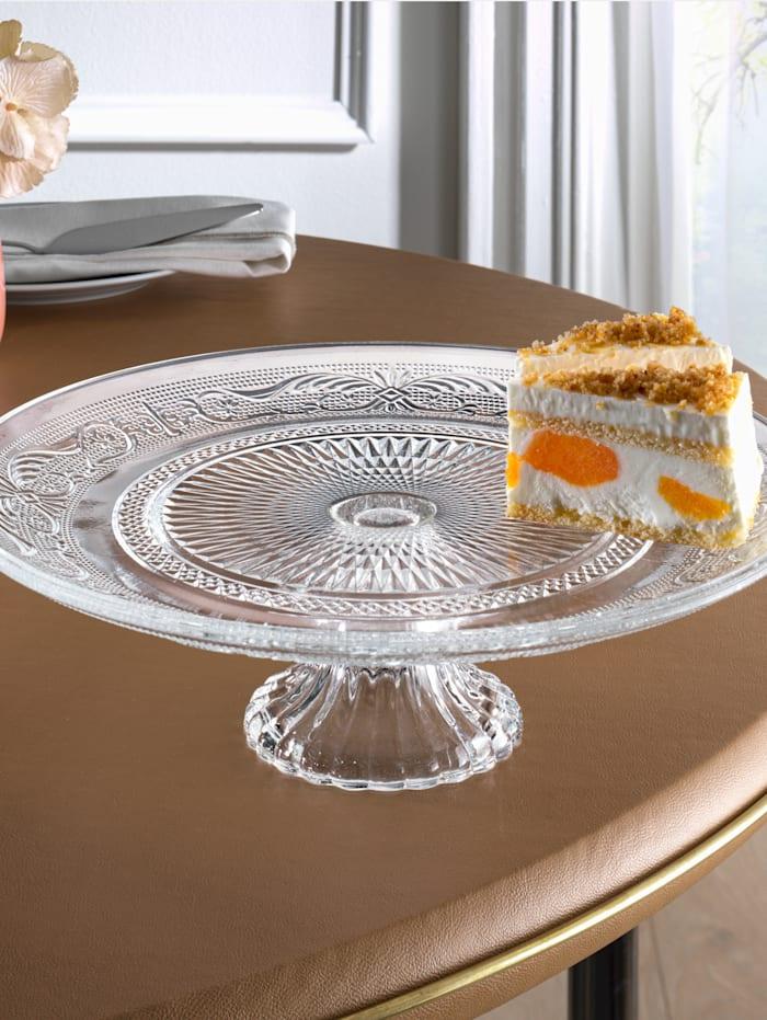 Tortenplatte 'Relief', Ø ca. 25 cm, ungefärbt