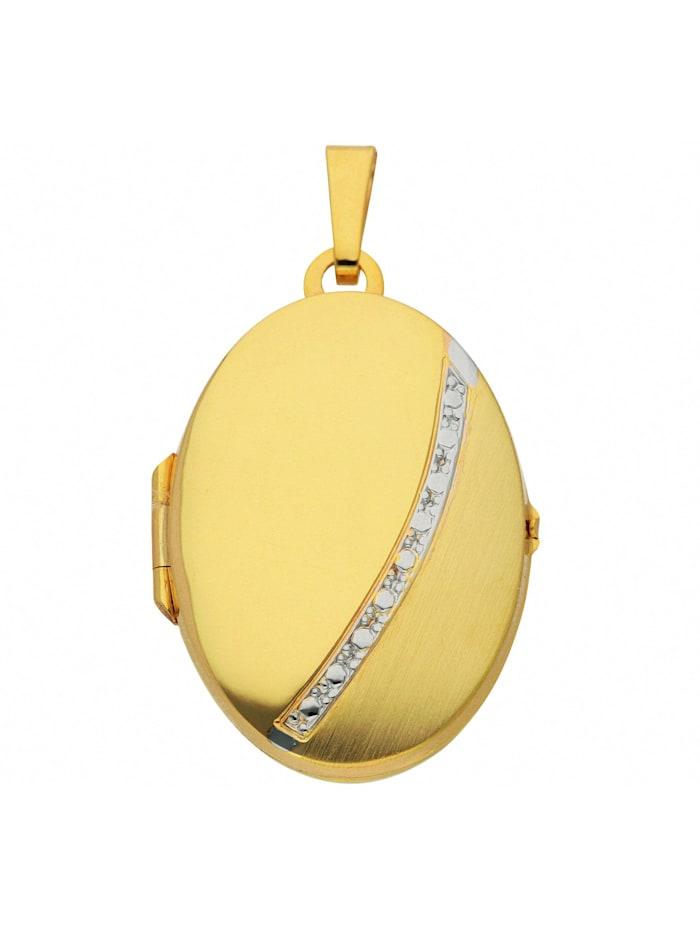 1001 Diamonds Damen Goldschmuck 333 Gold Medaillon Anhänger, gold