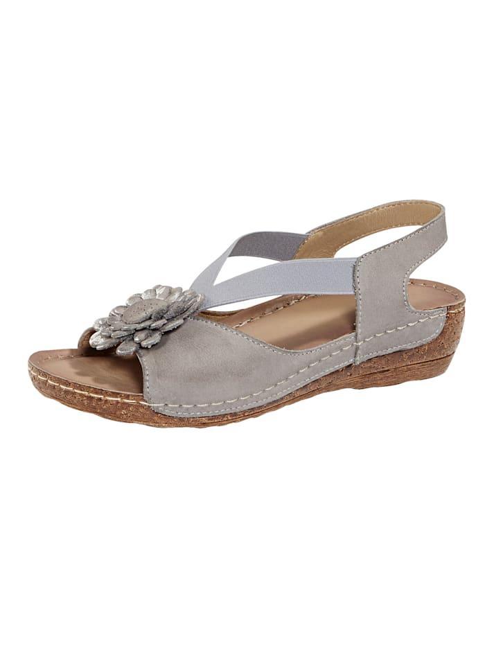 Naturläufer Sandals with floral embellishment, Grey