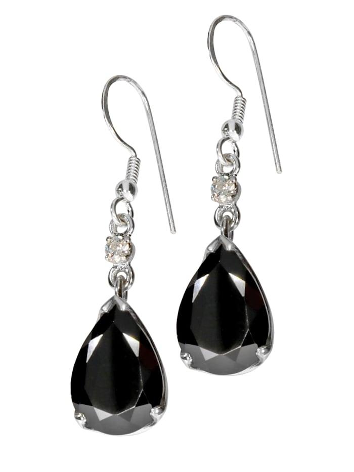 1001 Diamonds Damen Schmuck Edelstein Spinell Ohrhänger Anhänger 925 Silber schwarz Fisch, schwarz