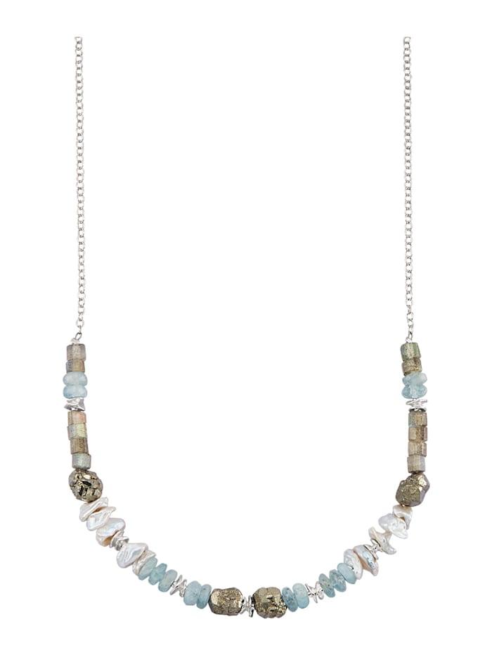 Roman Glass Collier Echt zilver, Multicolor