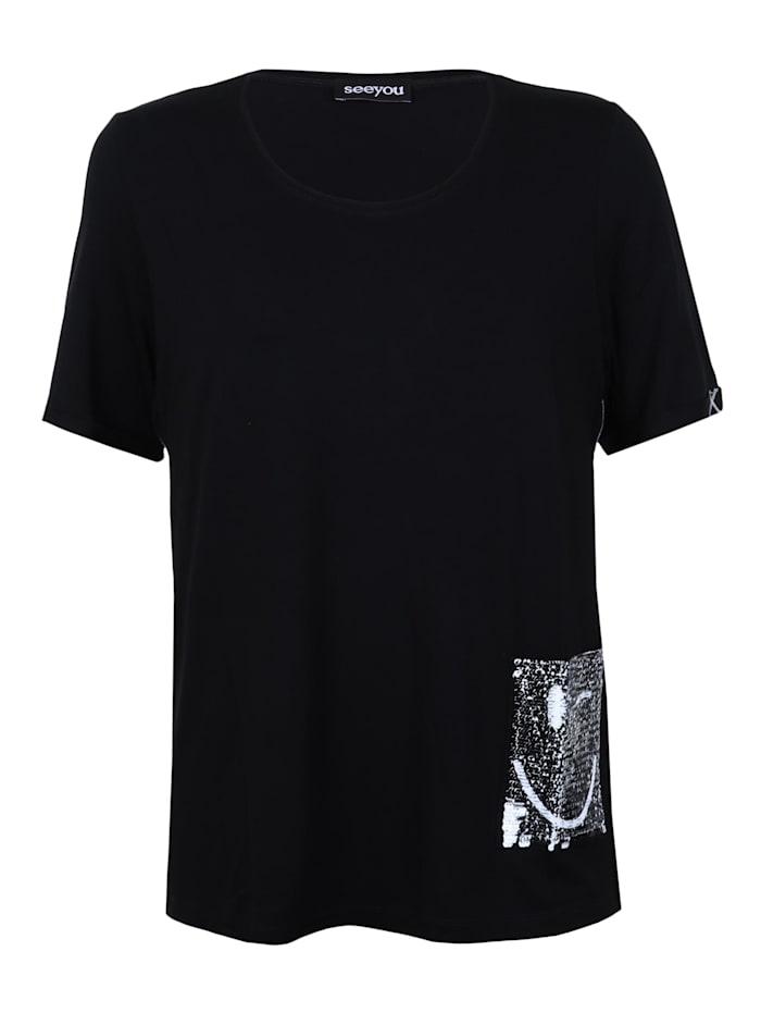 seeyou Shirt mit Pailletten-Tasche Pailletten, schwarz