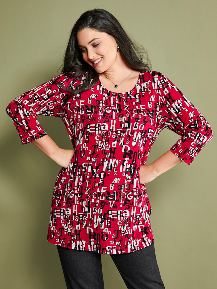 MIAMODA Shirt allover mit grafischem Schriftedruck, Rot/Schwarz/Weiß