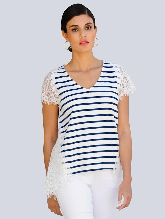 Alba Moda Shirt mit Einsätzen aus transparenter Spitze, Off-white/Marineblau