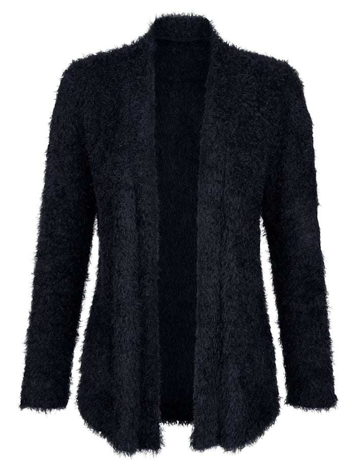 Cardigan crafted from a plush fabric blend