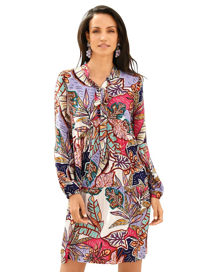AMY VERMONT Kleid mit Blätterdruck allover, Multicolor