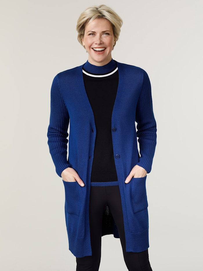 MONA Longstrickjacke in modischer Longform, Royalblau