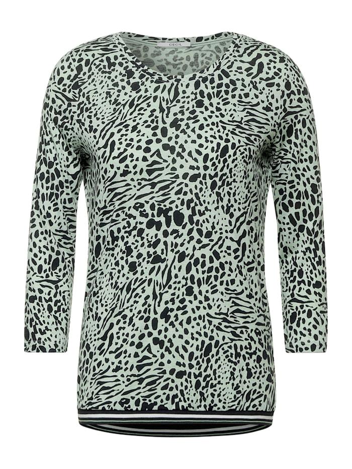 Cecil Shirt mit Animal Print, bud green melange