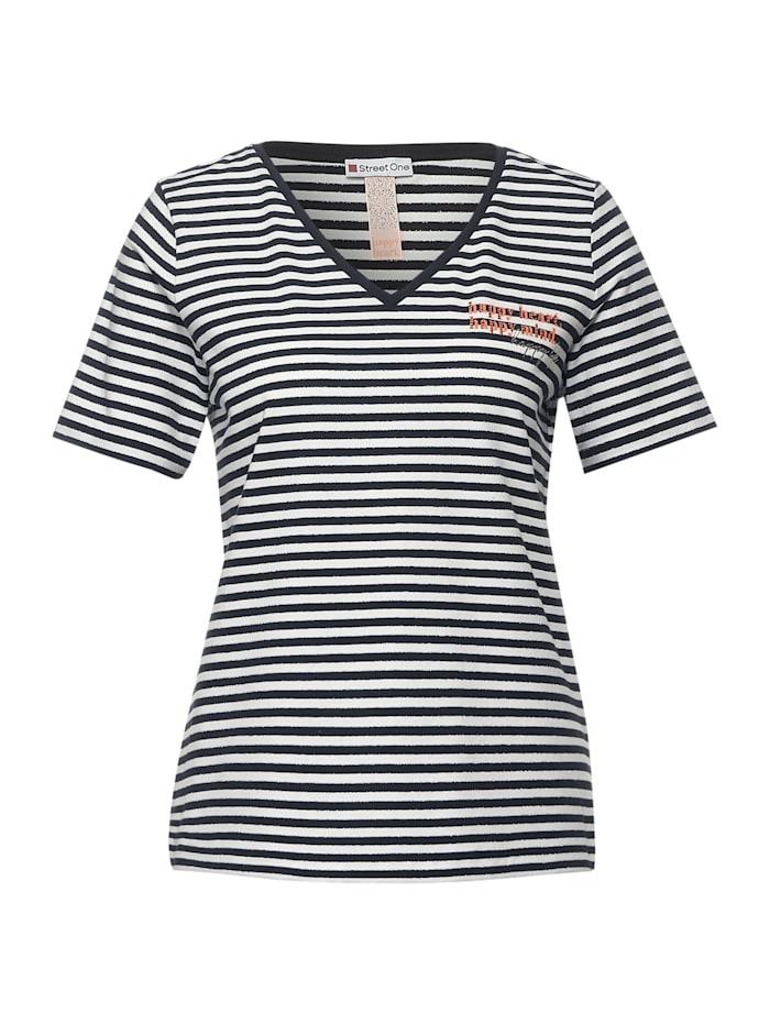 Street One T-Shirt mit Streifen, dark blue