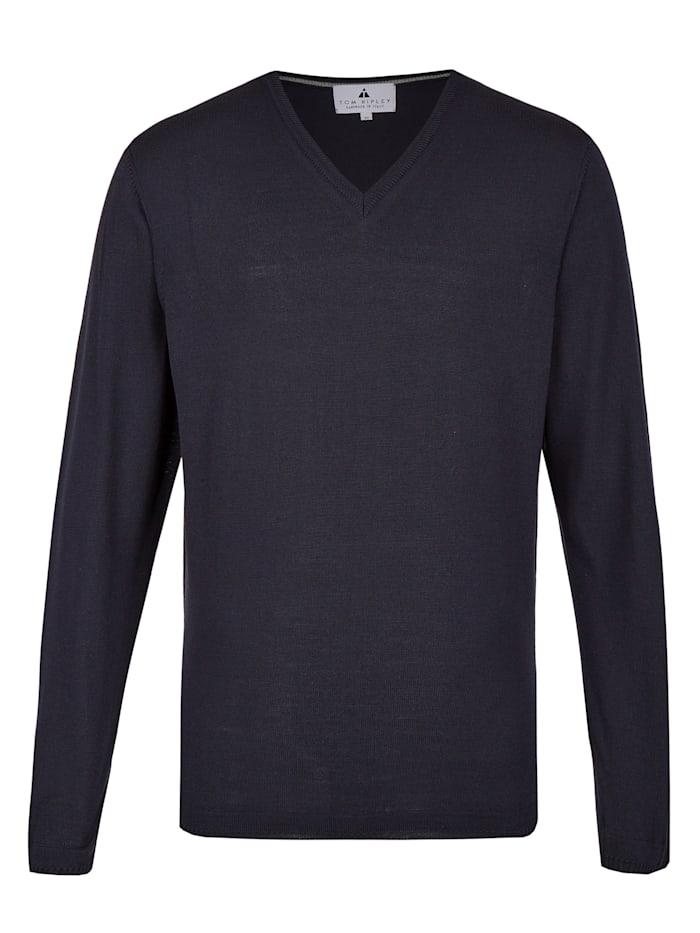 Hajo Pullover mit V-Ausschnitt, marineblau