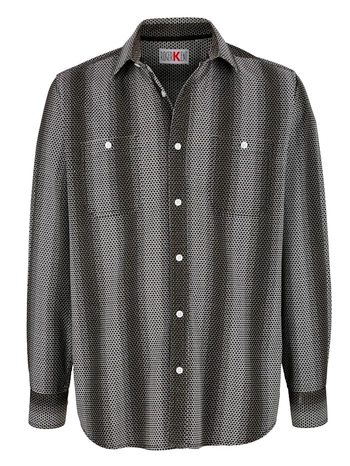 Roger Kent Overhemd met dessin rondom, Zwart/Wit