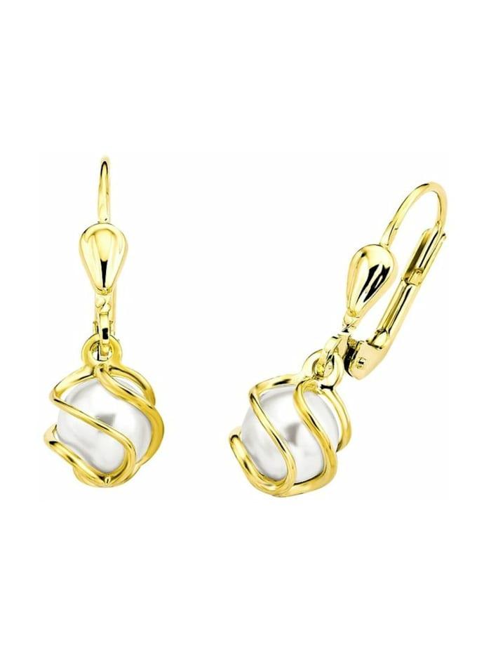 amor Ohrhänger für Damen, Gold 375, Wachsperle, Gold
