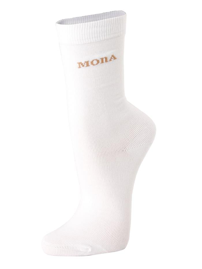 MONA Chaussettes femme à bord confortable, Blanc