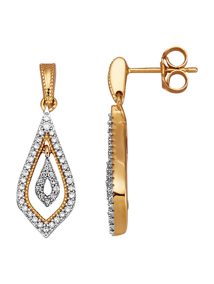 Diemer Diamant Ohrringe mit 84 Diamanten und Brillanten, Gelbgoldfarben