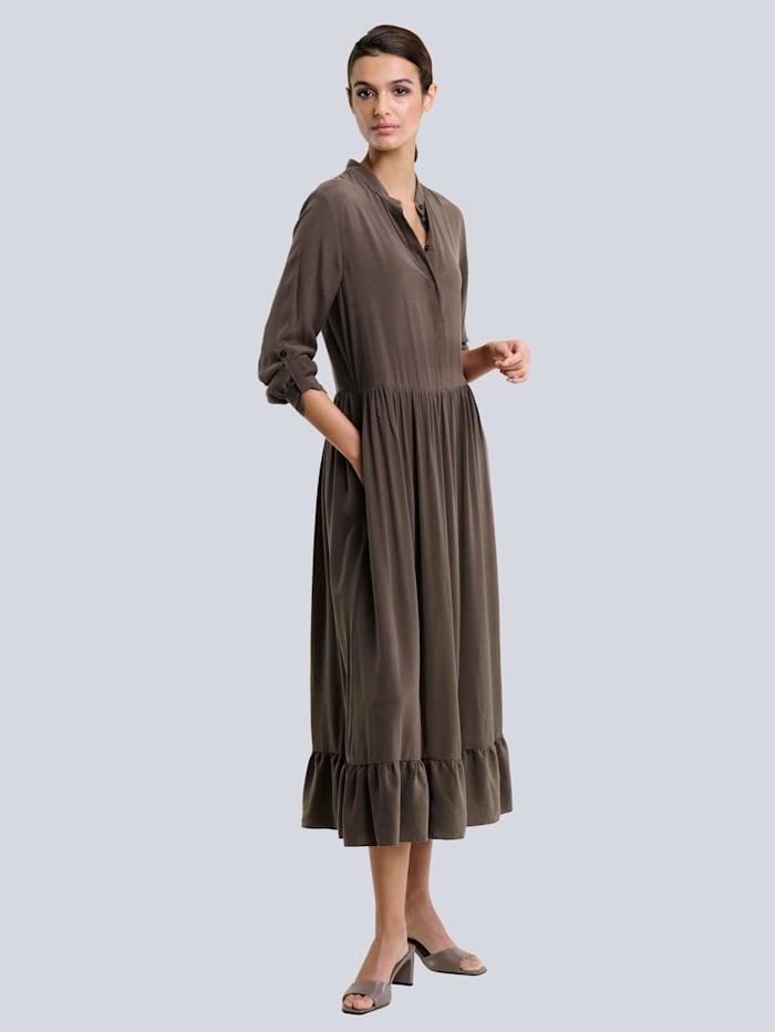 Alba Moda Šaty z hodnotného mixu materiálov, Čokoládová