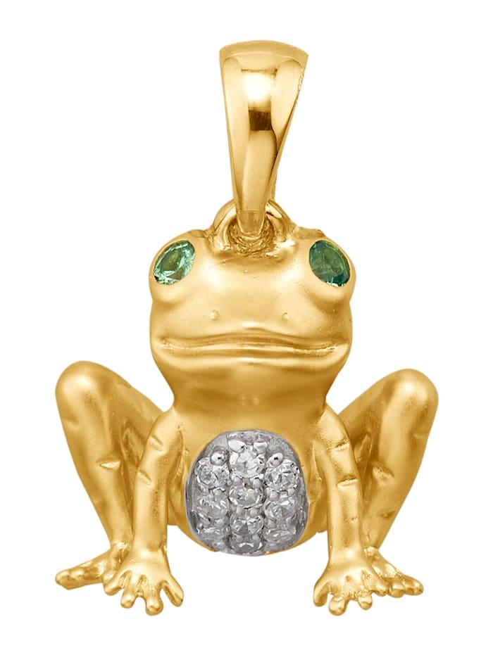 Diemer Diamant Frosch-Anhänger mit Diamanten, Gelbgoldfarben