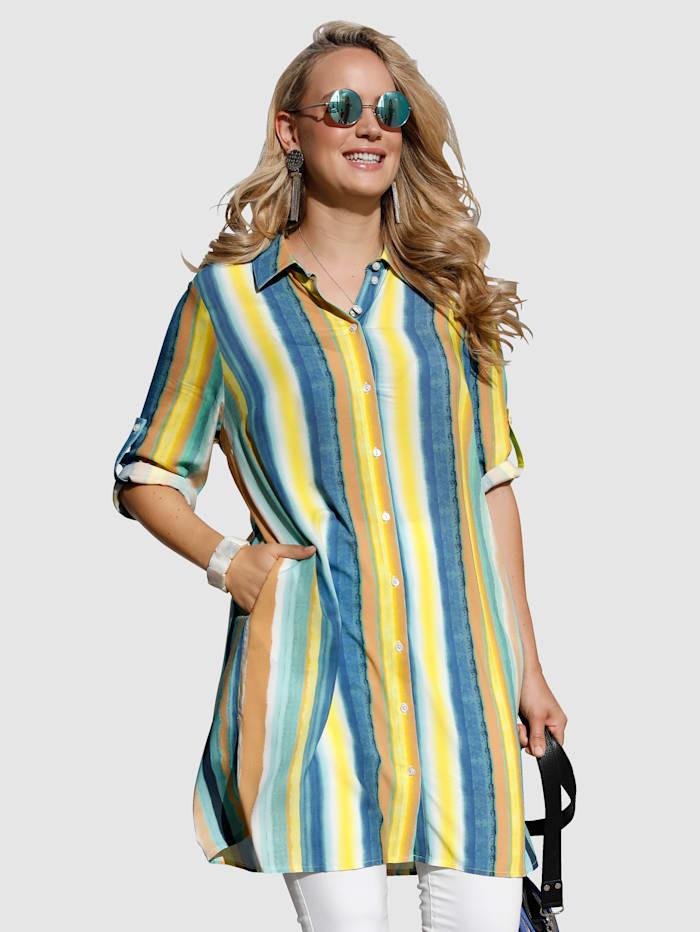 MIAMODA Longbluse mit Eingrifftaschen, Gelb/Blau/Grün