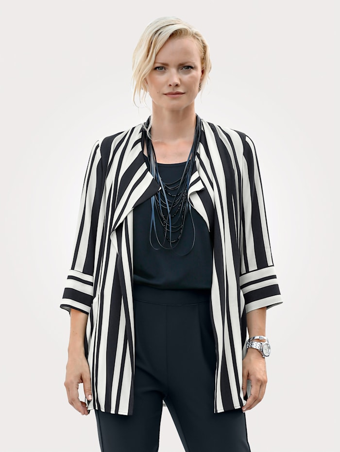Longline jacket with classic striped pattern