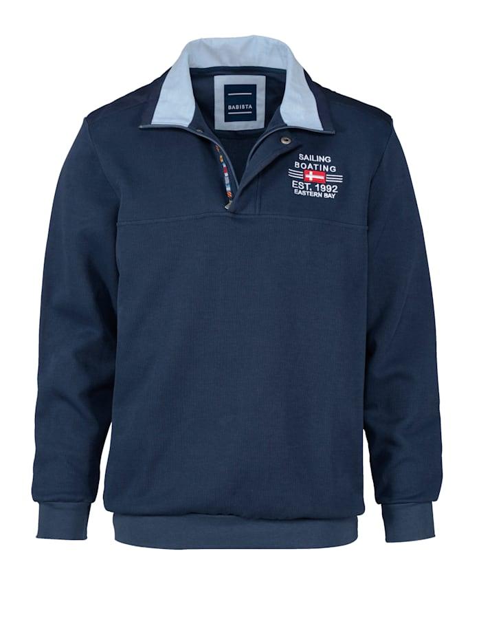 BABISTA Sweat-shirt avec un col haut de gamme, Bleu