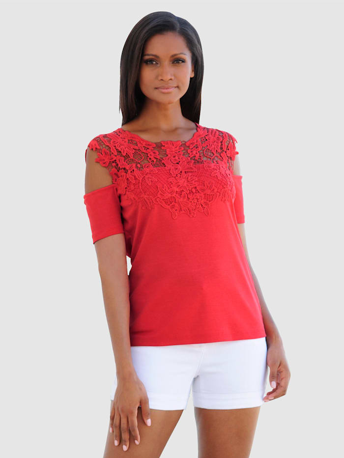 Alba Moda T-shirt de plage à épaules dénudées, Rouge