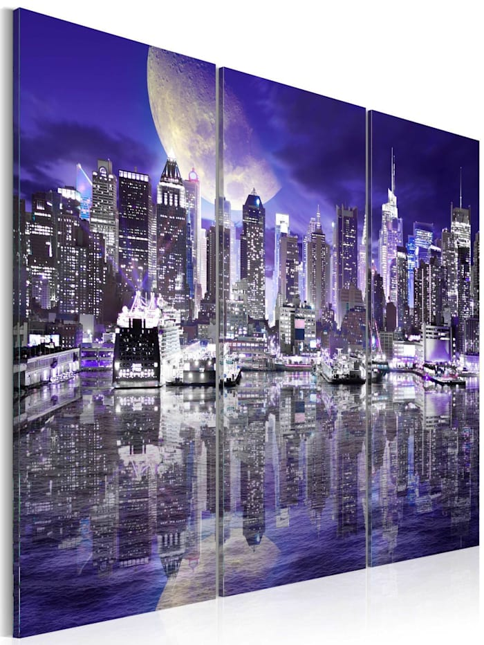 artgeist Wandbild Skyscrapers at night, Schwarz,Violett,Weiß