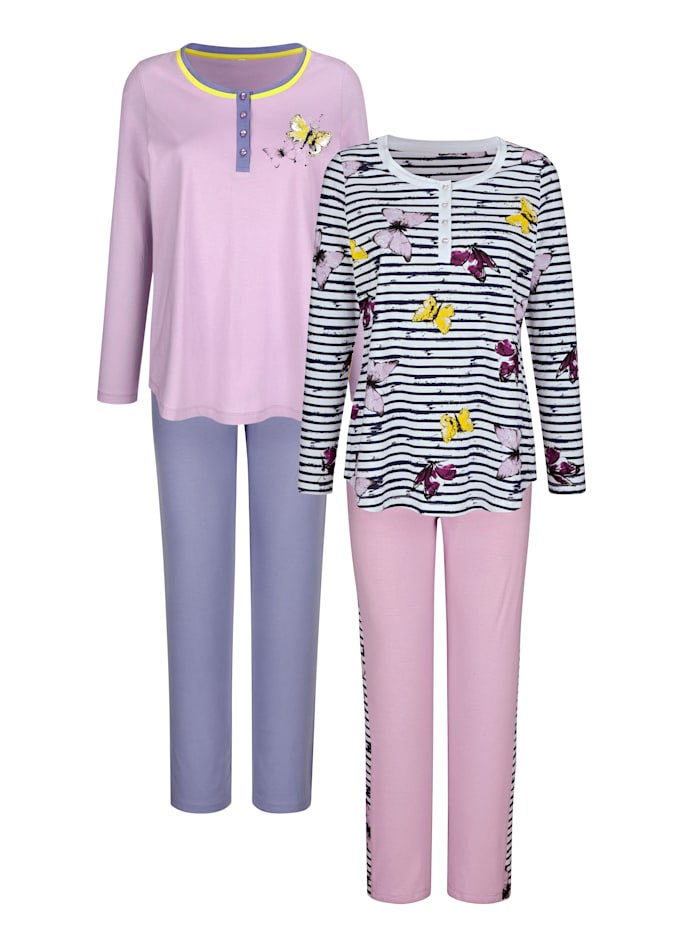 Blue Moon Pyjama's per 2 stuks met vrolijke print en vel contrasten, Wit/Lila/Lavendel