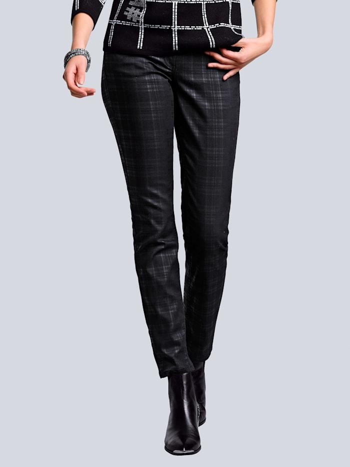 Alba Moda Jeans im Karodessin, Schwarz